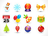 abstract multiple christmas icon set