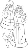 Santa And Mrs Claus Waving Hands For Christmas Coloring Page
