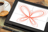 butterfly curve on a digital tablet