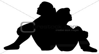 sisters sitting silhouette vector