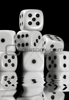 sinking pile of white dice
