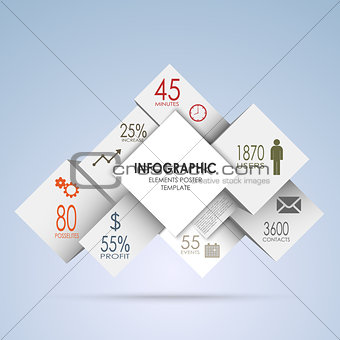 Abstract squares and white cubes info graphic