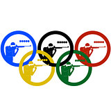 Athletes biathletes and Olympic rings