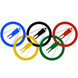 Luge World and Olympic rings