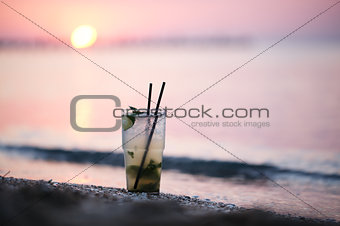 Mojito cocktail at the seashore