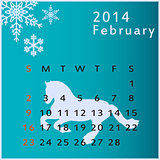 Vector calendar 2014 february