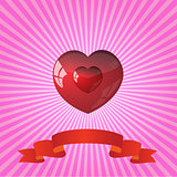 heart on striped pink background