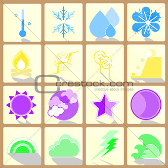 Climate color icons on button