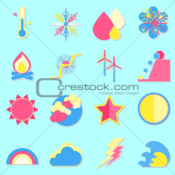Climate color icons with shadow