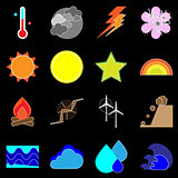 Climate icons on black background