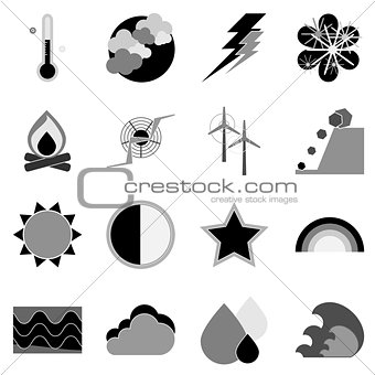Climate icons on white background