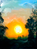 Rising sun painting