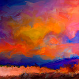 Sunset land painting