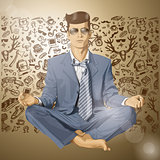 Vector Hipster Businessman in Lotus Pose Meditating