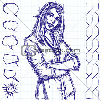 Sketch Business Woman With Crossed Hands