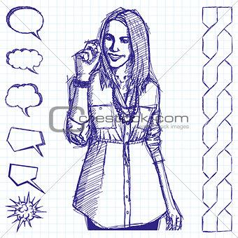 Sketch Business Woman Writting Something