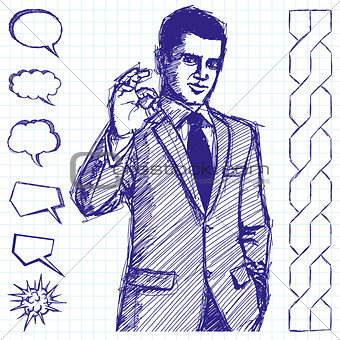 Sketch Businessman In Suit Shows OK