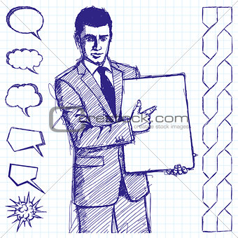 Sketch Businessman With Empty Write Board