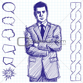 Sketch Man Businessman In Suit