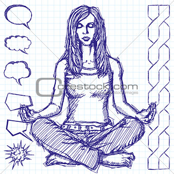Sketch Woman Meditation In Lotus Pose