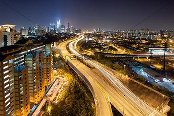 Ampang Kuala Lumpur Elevated Highway City Skyline at Dusk