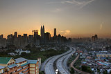 Kuala Lumpur Skyline with Highway at Sunset