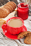 Cup of coffee and homemade cookies