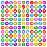 Valentines day color circle icons set