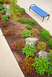 Bench Landscape Vertical Land Strip Shrubs Walkway Sidewalk