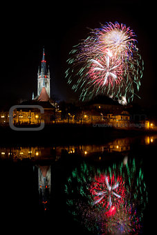 Fireworks in Caslav,  Church of St. Peter and Paul, Czech Republic