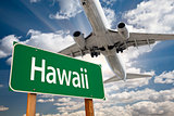 Hawaii Green Road Sign and Airplane Above