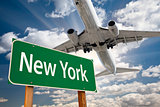 New York Green Road Sign and Airplane Above
