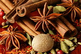 various spices (nutmeg, cinnamon, star anise, saffron, pepper, cardamom, fennel)