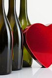 Bottles of wine and red heart