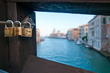 Venice Italy love lockers on Accademia bridge