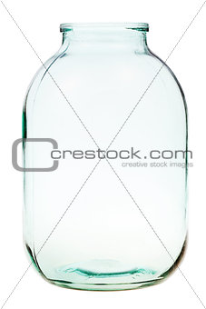three-liter open glass jar isolated