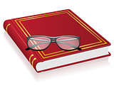red book and glasses vector illustration