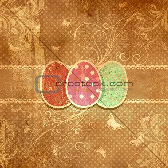 Grunge floral Easter egg background
