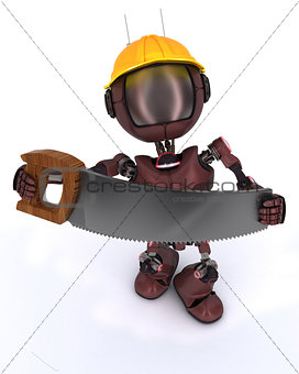 android builder with a saw