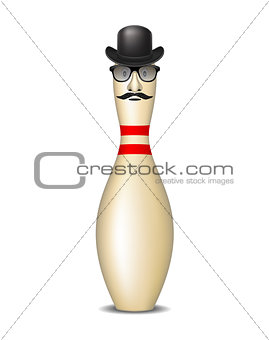 Bowling pin with bowler hat, mustache and glasses