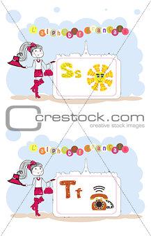 alphabet francais. French alphabet, vector S,T