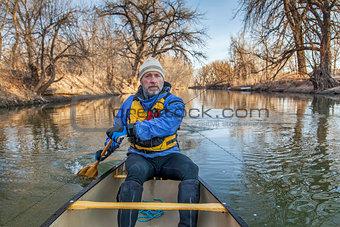 canoe paddling on Poudre River