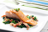 salmon fillet with warm spinach and bacon salad