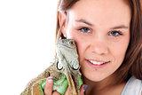 woman and iguana