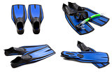 Set of blue swim fins, mask, snorkel for diving with water drops