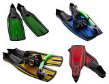 Set of multicolored flippers, masks, snorkel for diving with wat