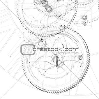 Clock mechanism. Wire-frame render