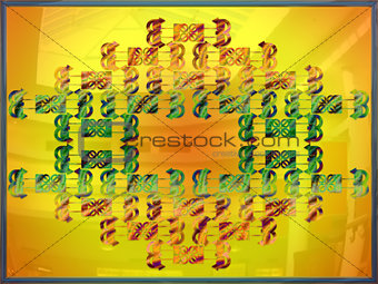 Abstract composition with a colored letters on a yellow image.
