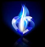 flaming blue heart-crystal