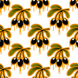 Seamless pattern of olive oil dripping from olives